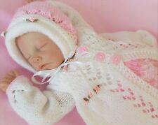 Baby Knitting Pattern DK 12 TO KNIT Matinee Set Lace Pants Bonnet Shoes Reborns