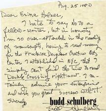 BUDD SCHULBERG - AUTOGRAPH LETTER SIGNED 08/25/1980