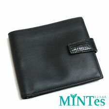 Auth Loewe Leather Bi-Fold Wallet Black Compact [Leather Used]