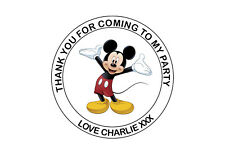 Personalised Mickey Mouse Birthday Party bag Thank You 40mm Round Stickers 24