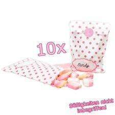 Rosa gepunktete Geschenk-Tüten, Papier, 10 Stück, Babyshower, Mädchen-Geburtstag