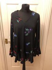 John Zack ladies black floral ruffle detail long sleeved Vneck blouse top UK 10