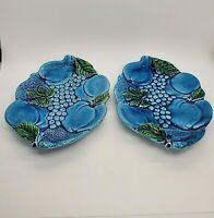 Set of 2 Vintage Inarco Blue Mood Indigo Plate Platter E2378 Japan Fruit Grapes