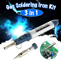 3 in 1 Gas Blow Torch Soldering Solder Iron Gun Butane Cordless Welding Pen New
