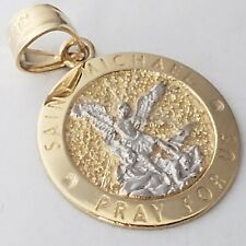 Small Solid 14k Gold saint Michael Miguel Pendant Charm 0.75 inch pray for us