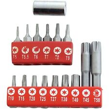"16PC TORX TORQUE STAR BIT SET 1/4"" DRIVE BIT TAMPER PROOF T10~T40 T5~T9 T45~T50"