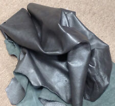 BR808 Leather Cow Hide Cowhide Upholstery Craft Fabric Graphite Lead Gray