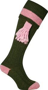 GREEN PINK LADIES RIBBED HUNTING STOCKINGS SOCKS WITH KNITTED TIES GARTERS