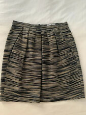 Designer IRENE VAN RYB Black Grey Beige Front Pleated Skirt Size 38