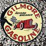 VINTAGE GILMORE RACING GASOLINE PORCELAIN SIGN USA OIL GAS LUBESTER PETROLIANA