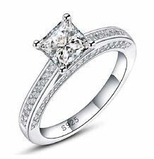 1.5 ct Princess Cut Diamond 925 Sterling Silver Engagement Wedding Rings