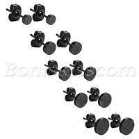 2pcs Mens Punk Charm Black Frosted Stainless Steel Screw Back Ear Studs Earrings