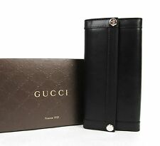New Gucci Black Leather Charmy Clutch Continental Wallet 231839 1000