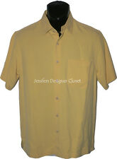 NWT NAT NAST 100% SILK camp shirt S bowling yellow resort cruise beach designer