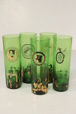 Green Glass Vtg Tumblers Set Of 5 Roman Caesar Grecian Motif Long Island Ice Tea