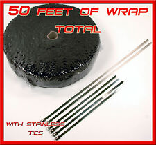 """BLACK EXHAUST TURBO HEADER WRAP 1/8"""" THICK 2"""" X 50 FT ROLL STAINLESS STEEL TIES"""