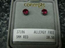 Concepts Non-Allergic Surgical Stainless Steel 5mm Red Round CZ Earrings