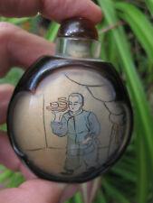 Chinese antique snuff black glass bottle: Waiter & Cashier in Chinese restaurant