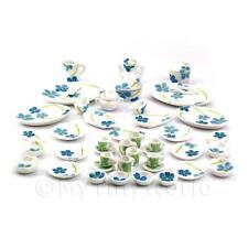 Maison de poupées miniature 45 pièce fleur bleue dîner service