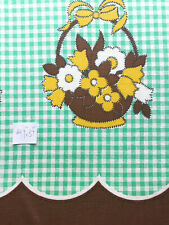 """Vintage Full Feed Sack Small Green & White Gingham Floral Border 41 'x 37"""""""