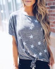 Women's Summer Star Short Sleeve Casual T Shirt Tops Blouse Ladies Loose Tee