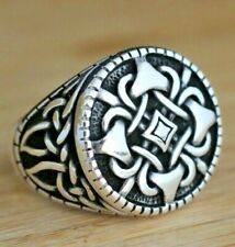 925 Sterling Handmade Authentic Turkish Silver Men's Ring Size 7-13