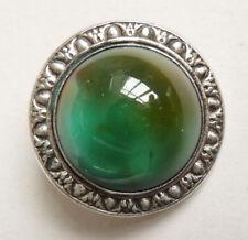 gros bouton en pate de verre et métal argenté vers 1910 1920