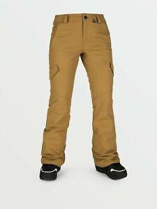 2021 NWT WOMENS VOLCOM BRIDGER INSULATED PANTS $165 S Burnt Khaki standard fit