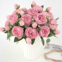 13 Heads Silk Peony Artificial Flowers Peony Wedding Home Party Bouquet O7Y4
