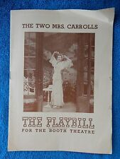The Two Mrs. Carrolls - Booth Theatre Playbill - October 22nd, 1944 - Bergner