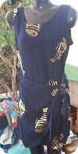 mango  Moon Hawiian Wrap Front Print Dress size medium blue rayon fish patt