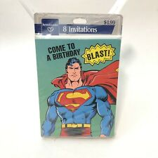 8 Vintage Superman Birthday Party Cards Invitations (8 Pack)