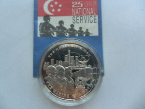 1992 Singapore 25 Years of National Service 1oz Silver Proof Medallion