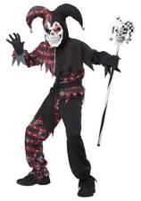 Boys 4 Pc Red & Black Skull Skeleton Sinister Jester Halloween Costume-sz 10/12