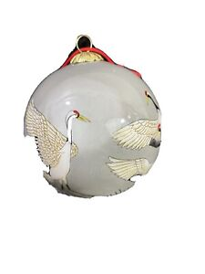 """LI BIEN"" CRANES Reverse Painted Round Christmas Ornament"