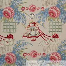 BonEful Fabric FQ Cotton Quilt VTG Cream Pink Blue Rose Flower Girl Doll Damask