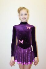 Studio White Shark 288-01 Girl Warm Leotard Velvet Dress for Ice Skating Size S