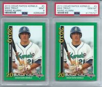 LOT OF 2- 2010 CEDAR RAPIDS KERNELS RC #3 MIKE TROUT, 1- PSA 10 GEM +  1- PSA 9