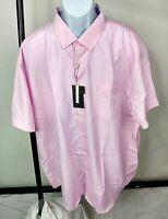Interaffair Men's Big & Tall Pink w/white Dots Short Sleeve Button up Shirt #109