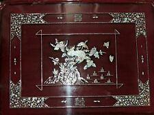 "Vintage Chinese Red Lacquered 24"" Lap Bed Table Tray MOP Mother of Pearl Inlay"