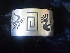 TG-028 Sterling Silver with Three Symbols Cuff Bracelet signed Raymond Kyasousie