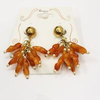 Vintage Amber Lucite Seed Pearl Earrings Pierced Dangle Gold Tone