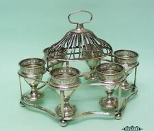 Old Sheffield Plate Breakfast Egg Cups Cruet Set On Stand England Circa 1790