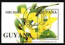Fleurs - Orchidées Guyana (137) bloc oblitéré