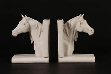 Stunning Horse Head Carrara Marble Book Ends Sculptures Horse Lovers ideal Gift.