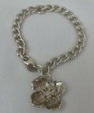 Tiffany & Co. Sterling Silver 925 Textured Links Dogwood Flower Charm Bracelet