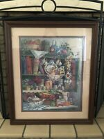 Home Interiors Framed Farmers Market Country Cupboard Wall Decor 26 x 22 Vintage