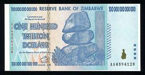ZIMBABWE 100 TRILLION DOLLARS Note 2008 HYPERINFLATION AA prefix P-91 P91 (UNC)
