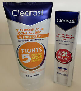 Clearasil Duo Acne Control 5 N 1 Weekly Scrub EXP 6/21 & Spot Treatment Gel 2/21