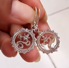 Sterling Silver 925 - KM33 Traditional Balinese OM Design Earring New 2017